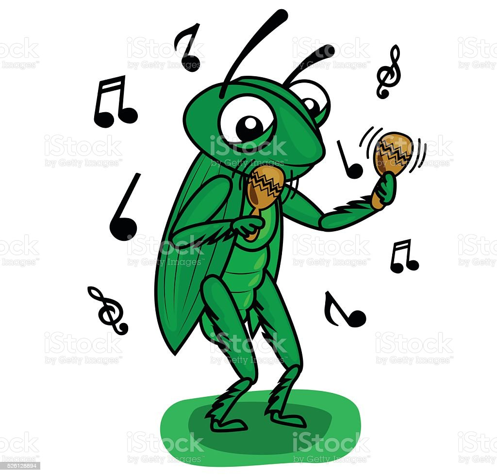 cricket music vector art illustration