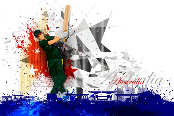 ilustraciones, imágenes clip art, dibujos animados e iconos de stock de jugador de críquet de australia - críquet