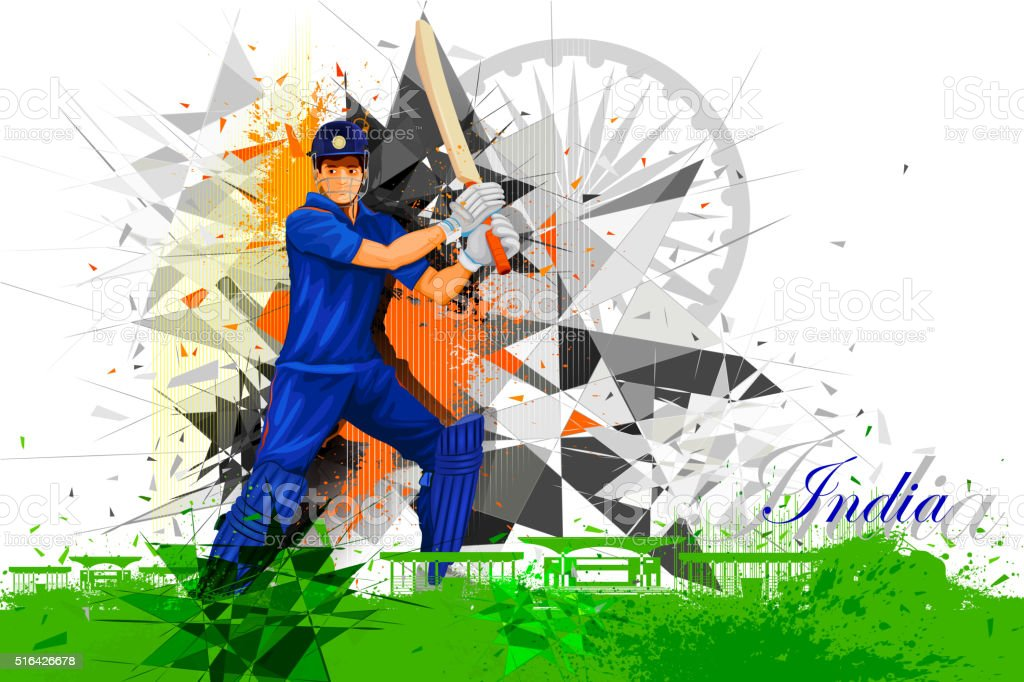 Cricket Player from India vector art illustration
