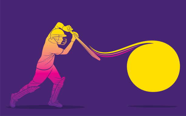 cricket-spieler trifft großen schuss - cricket stock-grafiken, -clipart, -cartoons und -symbole