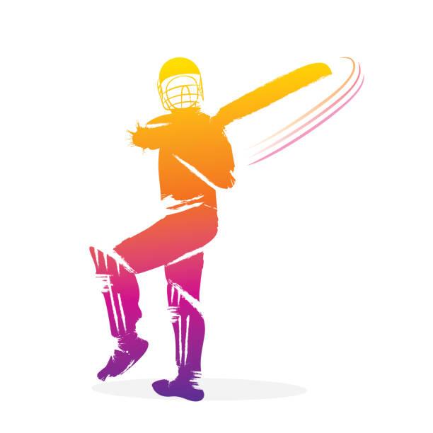 ilustraciones, imágenes clip art, dibujos animados e iconos de stock de jugador de cricket que tiro - críquet