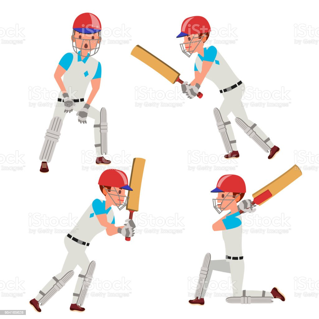 cricket player male vector cricket team characters flat cartoon