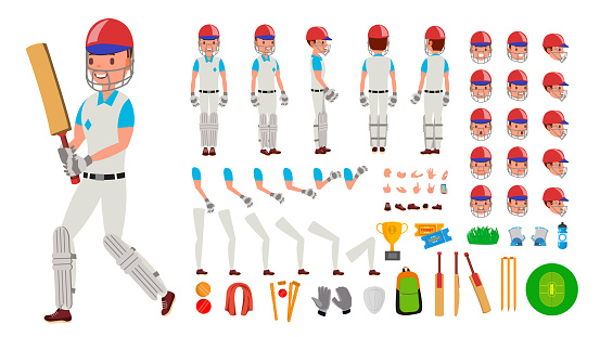 Cricket Player Male Vector. Sport Cricket Player Man. Cricketer Animated Character Creation Set. Full Length, Front, Side, Back View, Accessories, Poses, Emotions, Gestures. Isolated Flat Illustration