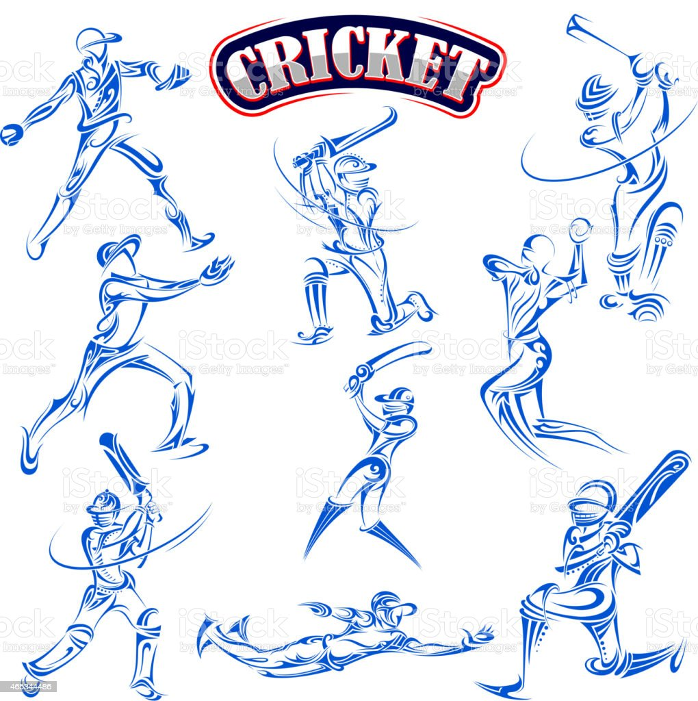 Cricket player playing with bat vector art illustration