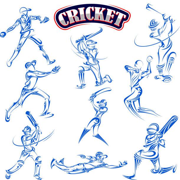 cricket-spieler spielt mit schläger - cricket stock-grafiken, -clipart, -cartoons und -symbole