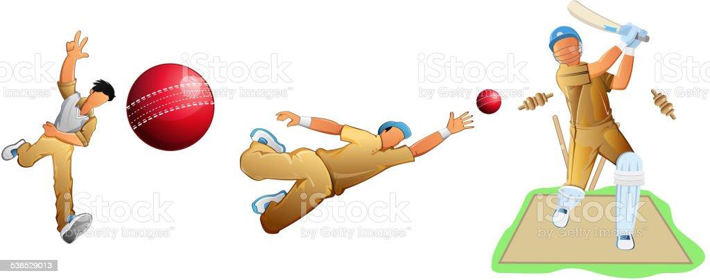 Cricket Player-Set – Vektorgrafik