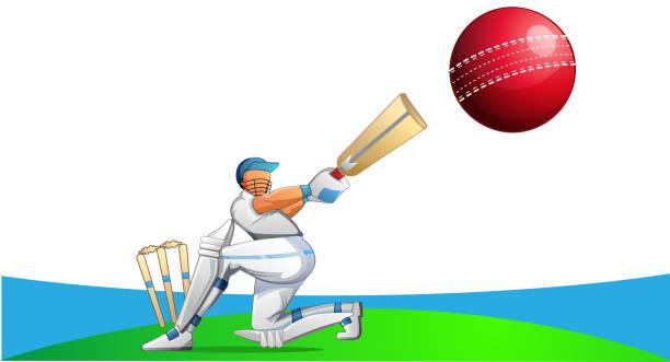 ilustraciones, imágenes clip art, dibujos animados e iconos de stock de jugador de críquet - críquet