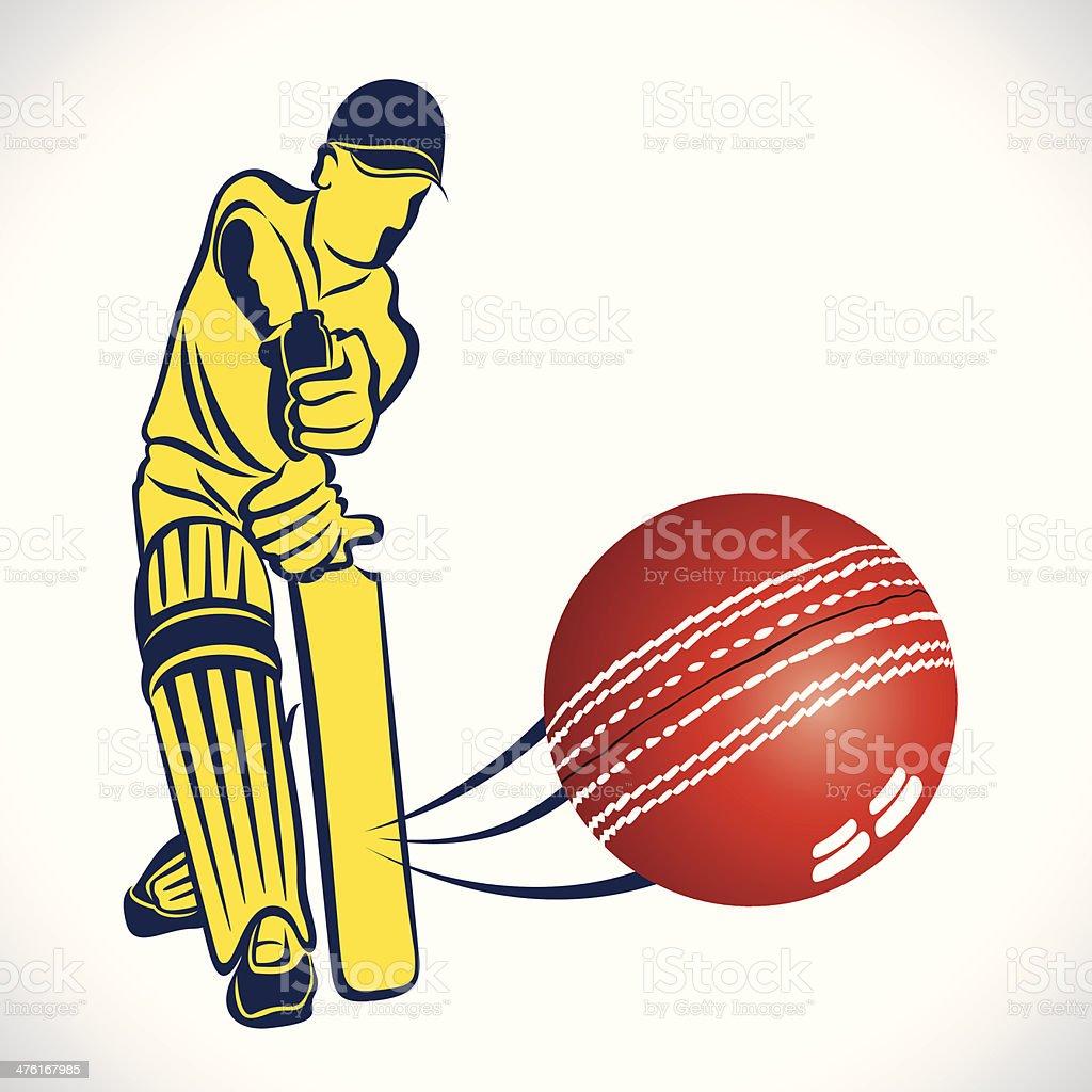 cricket player vector art illustration