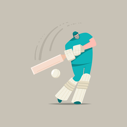 Cricket player with bat and ball. Vector cartoon flat character of a man playing in sports game isolated on a background.