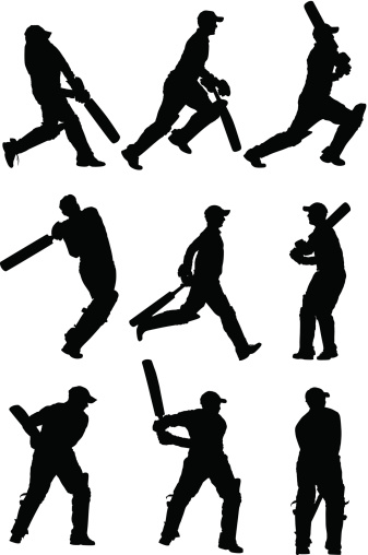 Cricket players in action