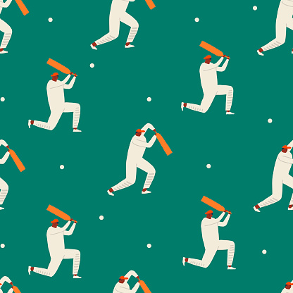 Cricket players playing the game on the stadium. Funky sport cartoon characters seamless pattern in vector.