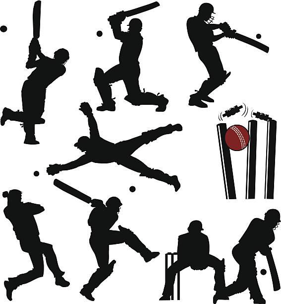 ilustraciones, imágenes clip art, dibujos animados e iconos de stock de siluetas de los jugadores de críquet - críquet