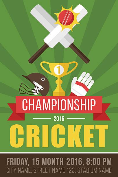 ilustraciones, imágenes clip art, dibujos animados e iconos de stock de cricket poster - críquet