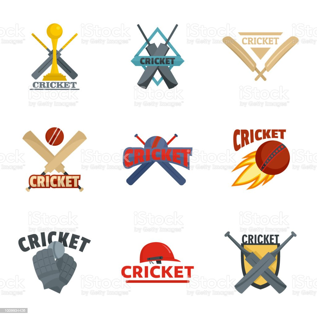 Cricket sport ball bat symbol icons set. Flat illustration of 9...