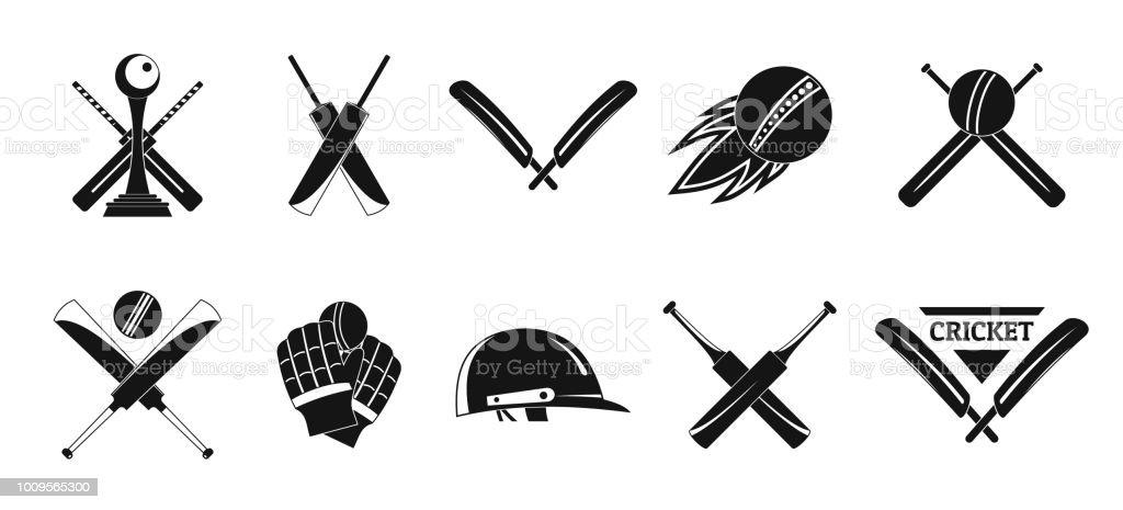 Cricket sport ball bat logo icons set. Simple illustration of 10...