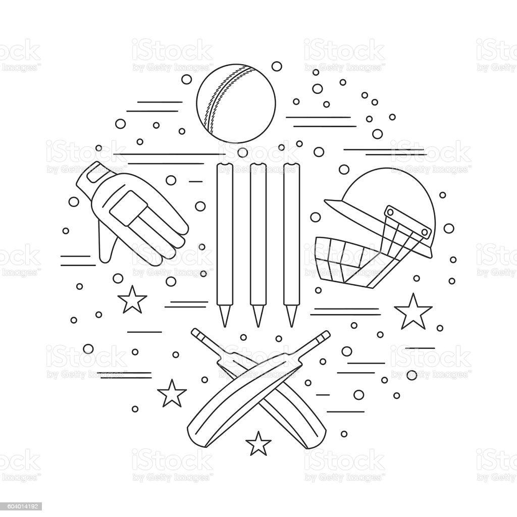 Cricket sport game graphic design concept vector art illustration