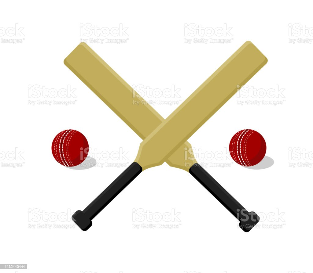 Cricket sport print with cricket bat and ball on white background....