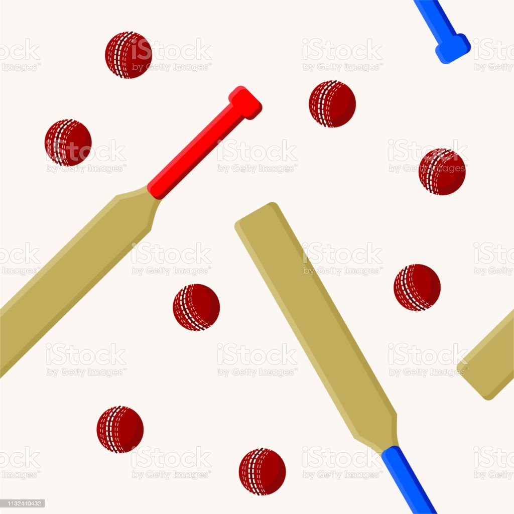 Cricket sport seamless pattern with cricket bat and ball on white...