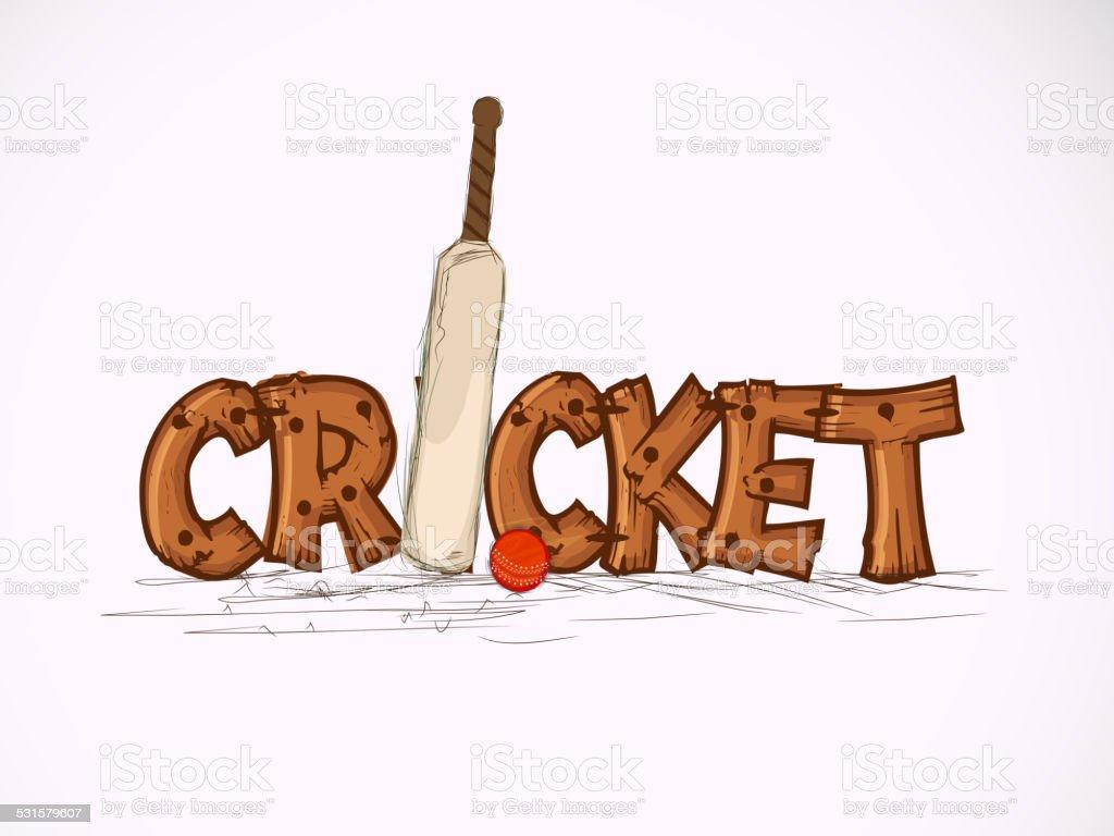 Críquete conceito de esportes com o taco e a bola. - ilustração de arte em vetor