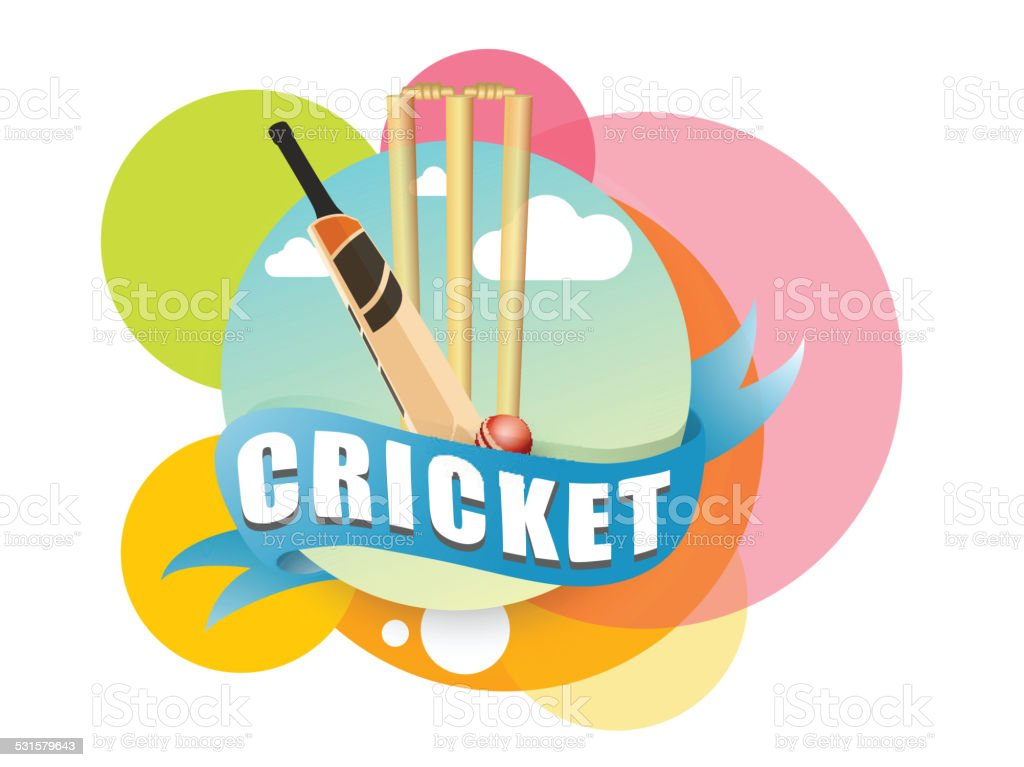 Colorful stickers with cricket bat, ball and wicket stumps on white...