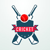 Cricket sports concept with bats and ball.