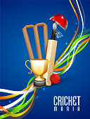 Cricket sports concept with match kit.