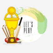 Cricket sports concept with winning trophy and match kit.