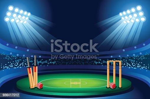 istock Cricket stadium vector background 936417012