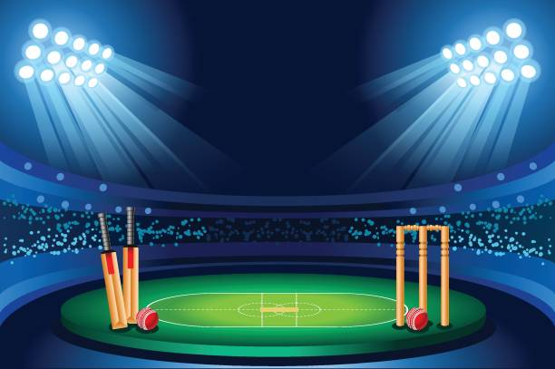 ilustraciones, imágenes clip art, dibujos animados e iconos de stock de fondo de vector de estadio de cricket - críquet