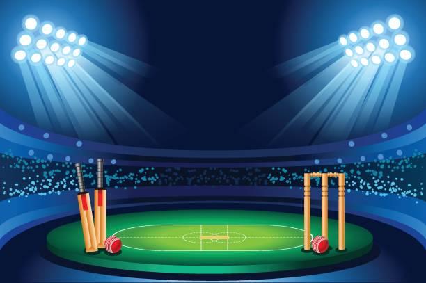 cricket-stadion vektor hintergrund - cricket stock-grafiken, -clipart, -cartoons und -symbole