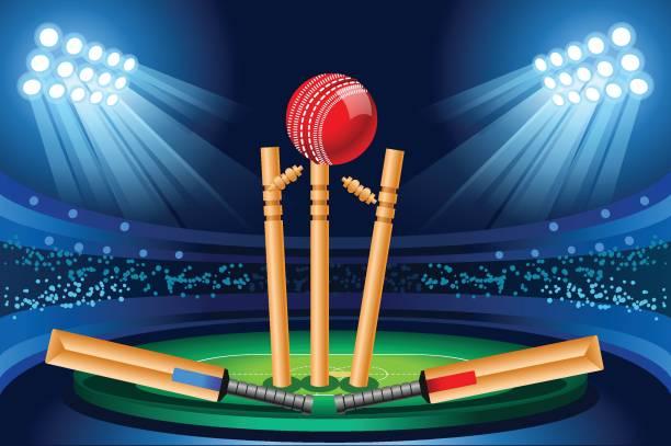 ilustraciones, imágenes clip art, dibujos animados e iconos de stock de fondos de pantalla vector estadio de cricket - críquet