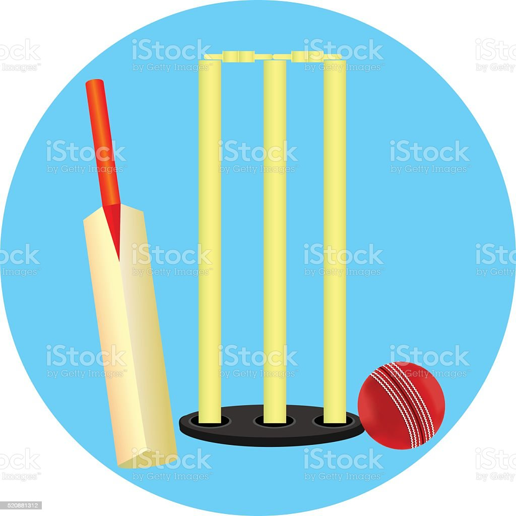 Cricket Stump Ball And Bat vector art illustration