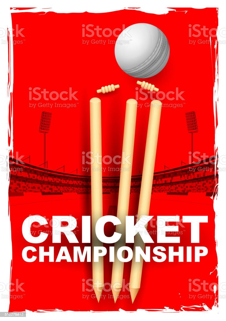 Cricket stumps and bails hit by a ball vector art illustration