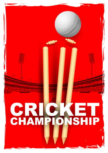 ilustraciones, imágenes clip art, dibujos animados e iconos de stock de grillo tocones y fianzas afectadas por una bola - críquet
