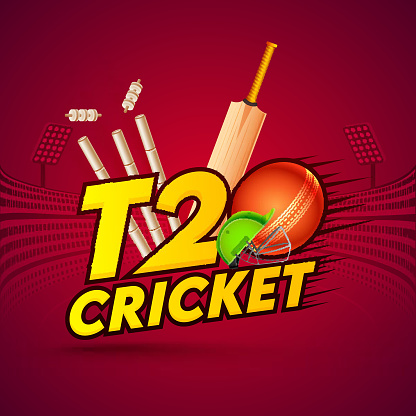 T20 Cricket Text with Ball, Realistic Bat and Wicket Stumps on Burgundy Stadium Background. Can be used as poster design.
