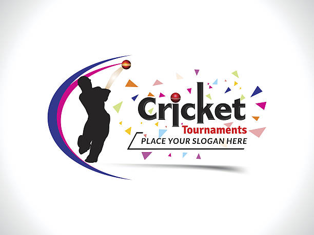 ilustraciones, imágenes clip art, dibujos animados e iconos de stock de cricket tournament text & banner design template - críquet