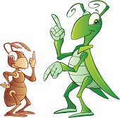 Illustration of cricket and ant.