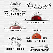 Cricket, volleyball, football, basketball, squash, rugby badges logos and labels