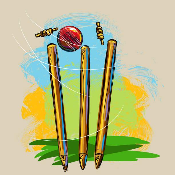 ilustraciones, imágenes clip art, dibujos animados e iconos de stock de wickets y bola de críquet - críquet