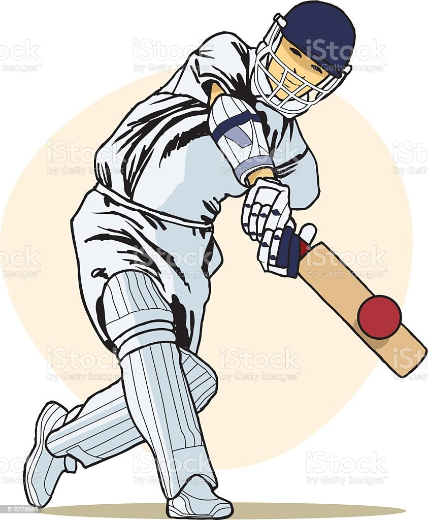 Cricketer Playing A Shot Stock Illustration - Download ...