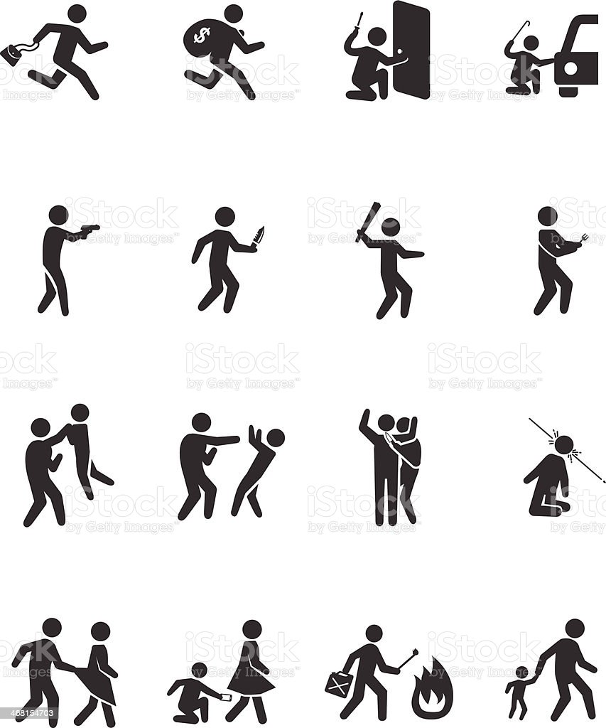 Crime activities icons - Illustration vector art illustration