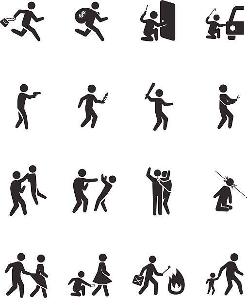 Crime activities icons - Illustration A set of pictograms representing criminal, robber, burglar, kidnapper rapist, and thief. Related vector icons for your design and application. human trafficking stock illustrations