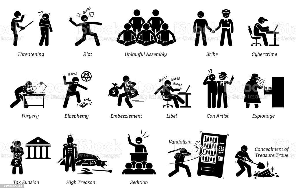 Crime and Criminal Icons vector art illustration