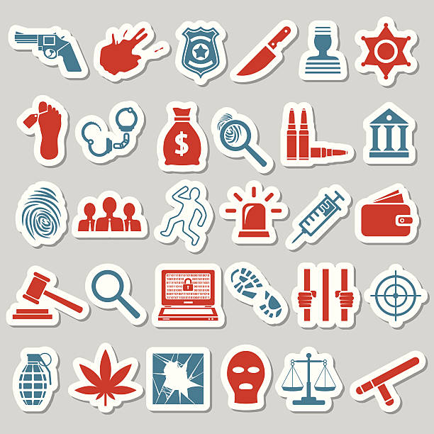 crime and justice stickers vector art illustration
