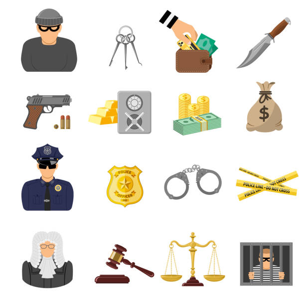 verbrechen und bestrafung flache symbole - geldstrafe stock-grafiken, -clipart, -cartoons und -symbole