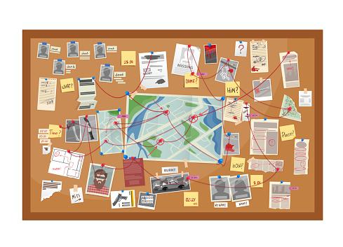 Crime board of police detective investigation