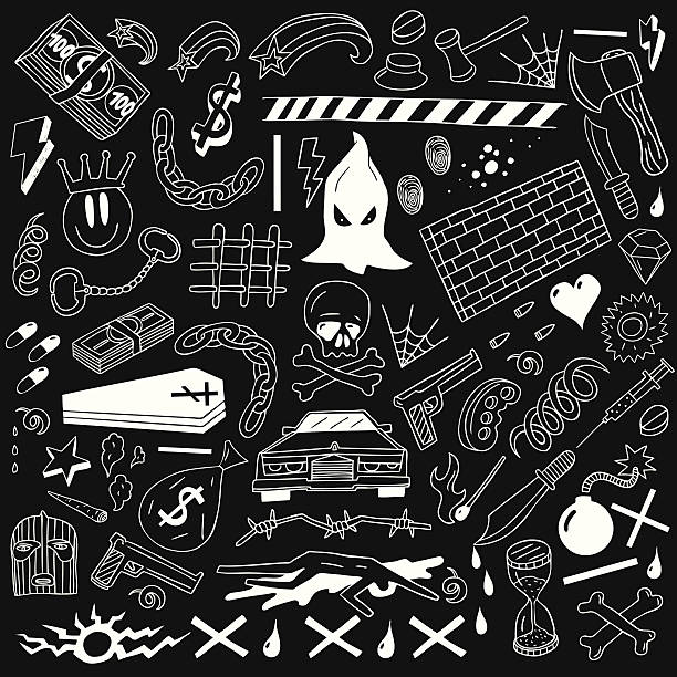 crime - doodles collection - evil money stock illustrations, clip art, cartoons, & icons
