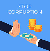 Crime hand offer giving dirty illegal money. Stop corruption concept. Vector flat cartoon graphic design isolated