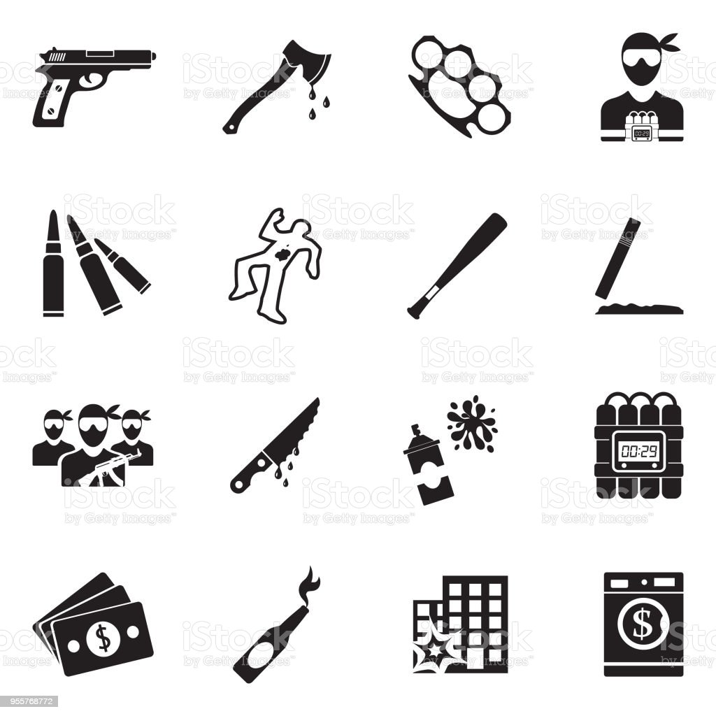 Crime Icons. Black Flat Design. Vector Illustration. vector art illustration