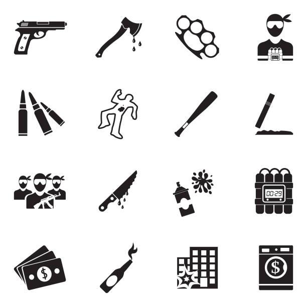 Crime Icons. Black Flat Design. Vector Illustration. Criminal, Vandalism, Riot, Unrest, Weapons, Gang vandalism stock illustrations